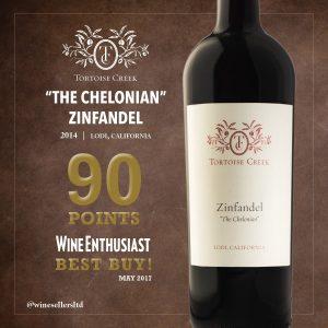 "Tortoise Creek Zinfandel ""The Chelonian"" 90 points Wine Enthusiast 2017"